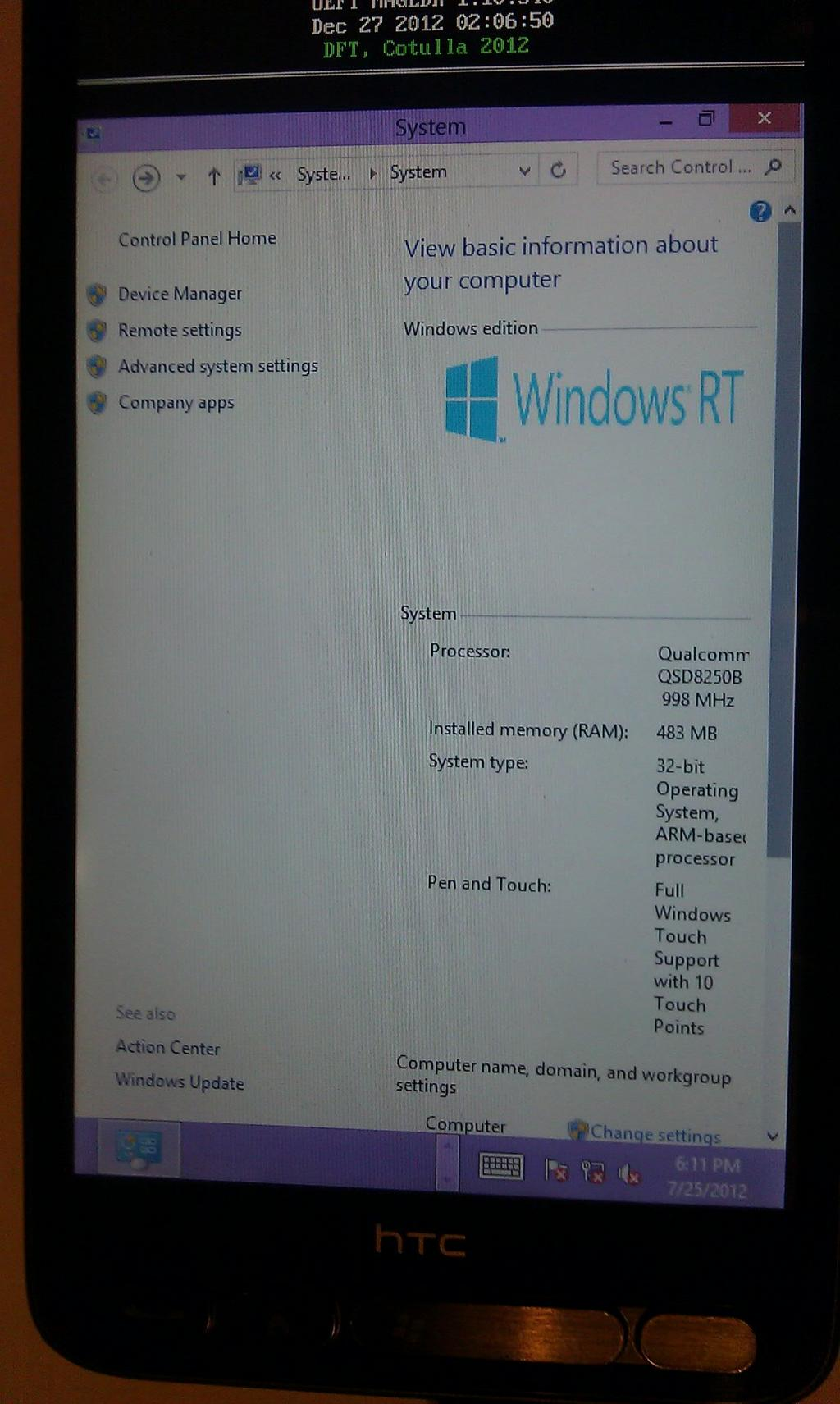Windows RT HTCHD2.3