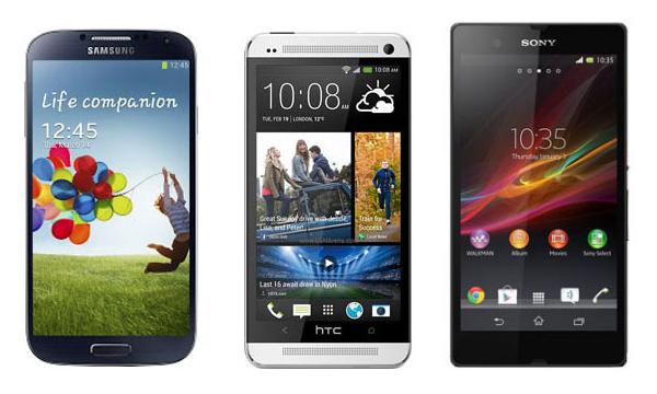 Htc One Galaxy S4 et Xperia Z