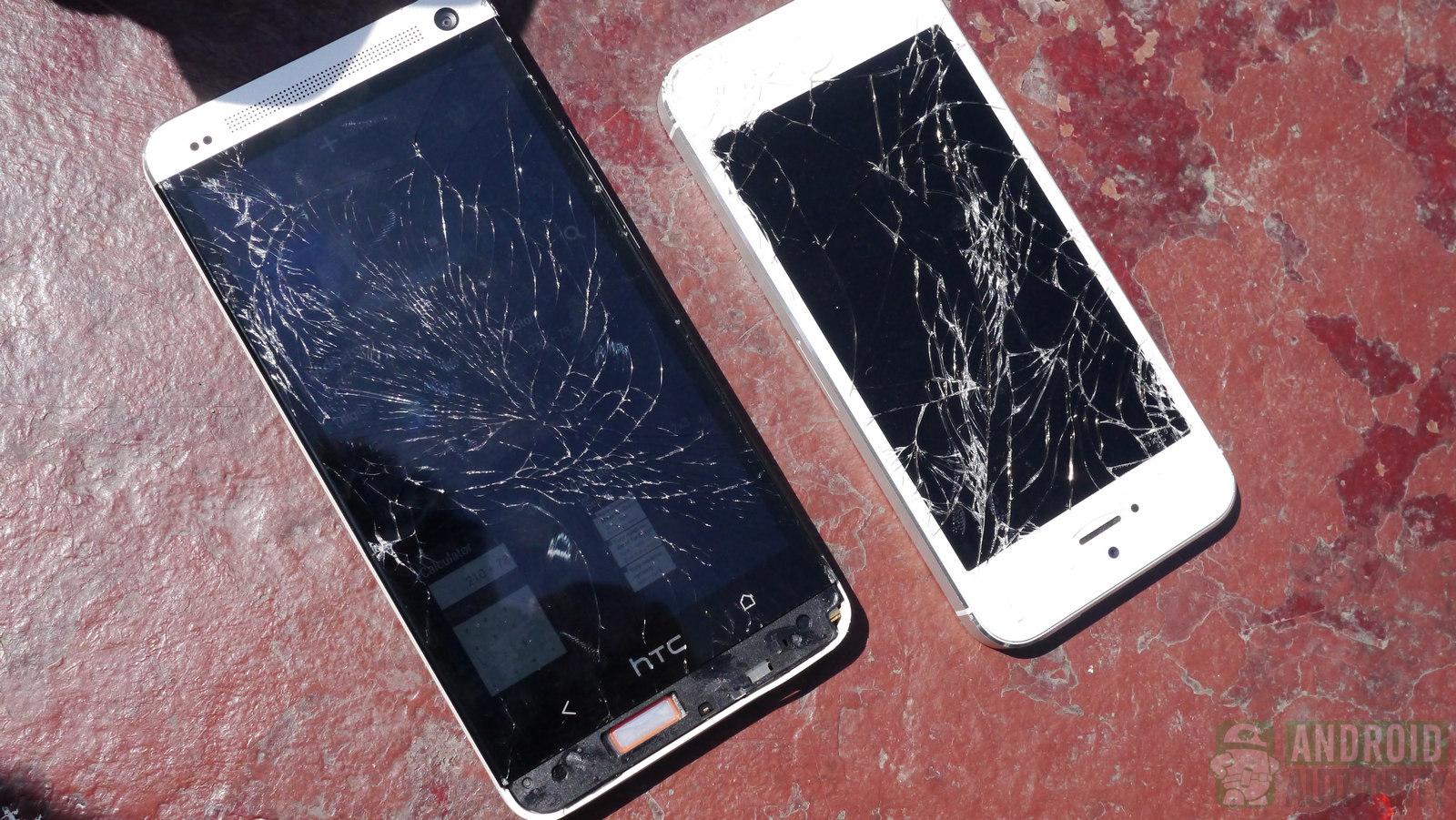 crash test htc one iphone 5